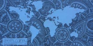 Street art from Bondi Beach. A blue world map with an outline of the continents and blue, swirling mandalas for the sea.