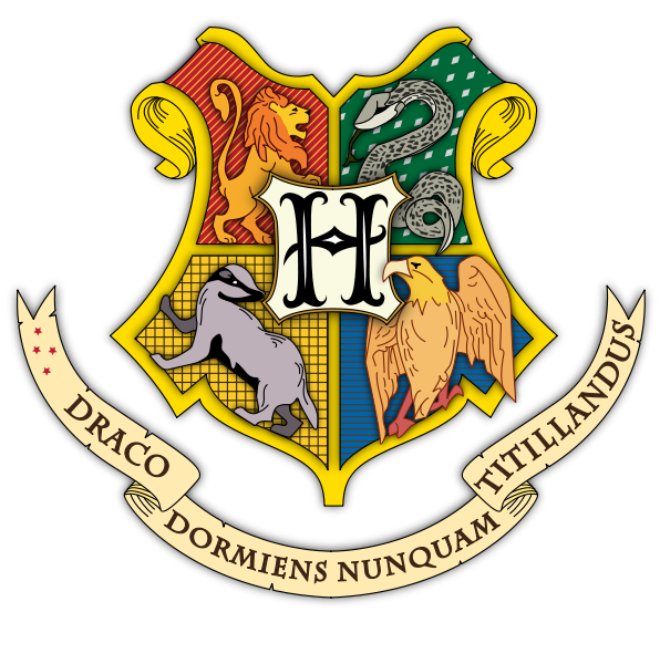 A stylized Hogwarts crest featuring the lion, snake, badger, and eagle that represent the four houses.